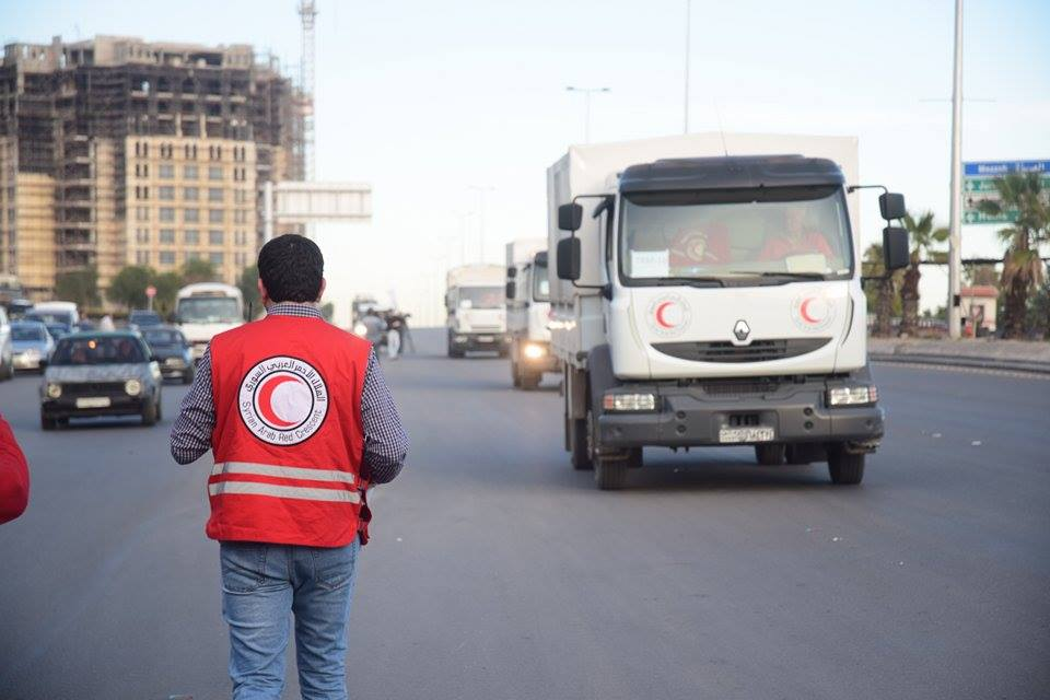 Aid arriving in Madaya as part of the Red Cross Red Crescent Movement