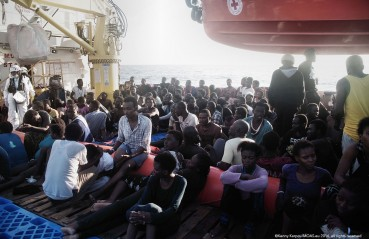 September 5, 2015 Calmer seas over the past week have seen an increase in the number of people risking the treacherous journey across the Mediterranean to seek safety in Europe. The life-saving missions of the Phoenix and Responder are a partnership between the Red Cross, with support from the Migrant Offshore Aid Station (MOAS), an independent charity. Red Cross aid workers provide post-rescue support including first aid, medical care, food, water, dry clothes and blankets.