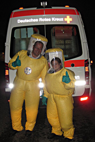 Germany. Two young German Red Cross volunteers take a break after a day of training at the Medical Hazmat Unit. © German Red Cross
