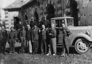The novelist and Nobel prize-winner, Samuel Beckett, gave his services to the Irish Red Cros at a hospital set-up by them in St. Ló in France after the Normandy town was bombed in July 1945.  Pictured: Beckett and other members of the Irish Red Cross in St Ló, France