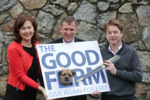 Pictured at the launch of The Good Form; CEO of The Mater Foundation - Mary Moorhead, Executive Director of Dogs Trust - Mark Beazely, Economist and broadcaster - David McWilliams and Buddy the Border terrier.Picture Conor McCabe Photography.