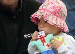 10 Jan | Irish Red Cross @irishredcross 2 yr old, Stella Lovering has arrived safely at the @RedCross Au Sorell relief center after fleeing the Tasmanian bushfires