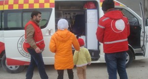 Volunteers from the the Syrian Arab Red Crescent were able to help Aya and Yasmin make contact with their aunt.