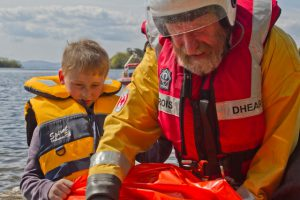 Irish Red Cross volunteer lifeboat crew, Lough Corrib, Ireland