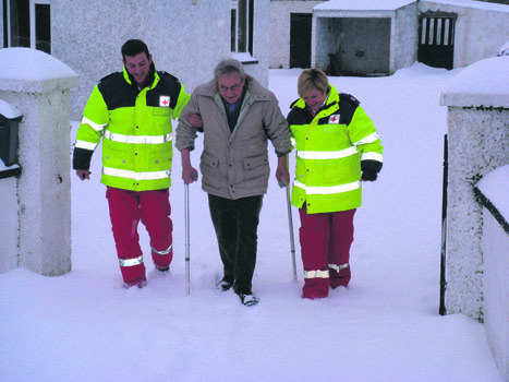 Irish Red Cross Winter Weather Assistance  Throughout severe winter weather, the Irish Red Cross support communities nationwide as part of the winter emergency plan.