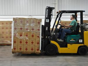 Red Cross Parcels are prepared for delivery to those in need