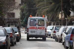 A Red Crescent ambulance pictured in Homs where Red Crescent volunteer teams provide first aid on the spot, evacuate the wounded and transport them for medical care. Pic: Ibrahim Mall/SARC