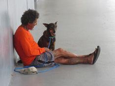 Julio and his dog Ringo hang out at one of the pet-friendly Red Cross shelters in Greater Columbus.