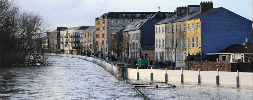 The Quays, Clonmel: The rise in the River Suir water level is almost above the railings on the lower right of this picture