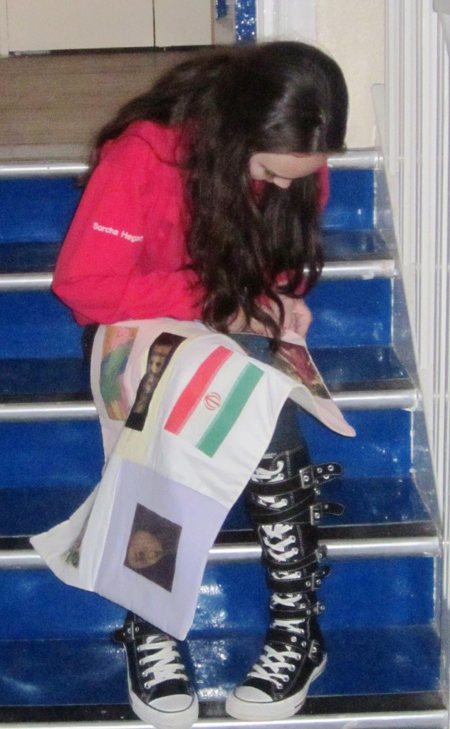 Irish Red Cross Youth Member, Sorcha Hegarty, works on her patchwork entry
